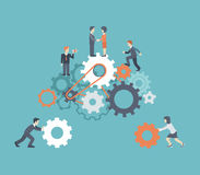 Moderne Teamwork der flachen Art, Arbeitskräfte, besetzen infographic Konzept mit Personal Stockfoto