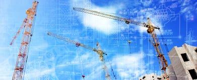 Moderne techniektechnologieën in bouw royalty-vrije stock afbeelding
