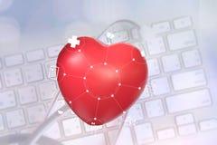 moderne techno van de de verbindingsgezondheidszorg van het stethoscoop medische netwerk Royalty-vrije Stock Fotografie