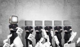 Moderne technologieën tegen oude  Stock Afbeelding