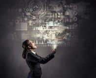 Moderne technologieën van verschillende media Gemengde media Stock Afbeelding