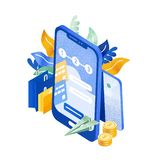 Moderne telefoon of smartphone, vliegend document vliegtuig, muntstukken en het winkelen zakken De onmiddellijke elektronische di royalty-vrije illustratie