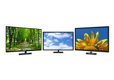 Moderne Televisie drie met verschillende beelden Stock Foto's