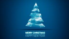 Moderne toekomstige Kerstmisboom en Vrolijke Kerstmis en het Gelukkige bericht van Nieuwjaargroeten op blauwe achtergrond Elegant Stock Foto