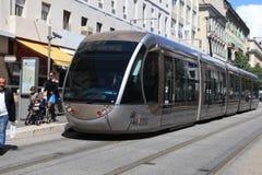 Moderne tram in Nice, Frankrijk Stock Foto
