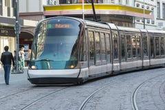 Moderne tram in Straatsburg, Frankrijk Stock Foto's