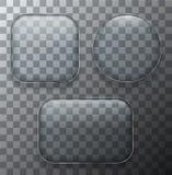 Moderne transparente Glasplatten des Vektors stellten auf Beispielhintergrund ein Stockfotos