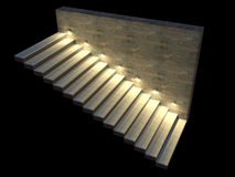 Moderne trap met backlit stappen Zachte nachtverlichting 3D Illustratie Stock Foto's