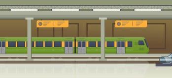 Moderne trein op station Spoorwegtype van vervoer, locomotief stock illustratie