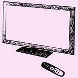 Moderne TV en afstandsbediening Stock Foto