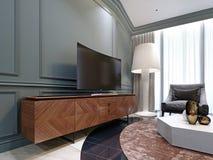 Moderne TV op een houten kabinet in de woonkamer royalty-vrije stock foto