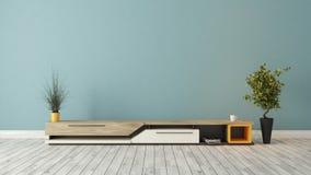 Moderne TV-tribune met blauw muurontwerp Royalty-vrije Stock Afbeelding