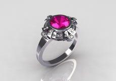 Moderne uitstekende roze de saffierring van de platinadiamant Stock Afbeeldingen