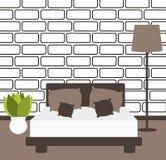 Moderne unbedeutende Schlafzimmerentwurfs-Vektorillustration stock abbildung