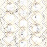 Moderne unbedeutende weiße Marmorbeschaffenheit mit Goldgeometrischen Linien Muster Hintergrund für Designfahne, Karte, Flieger,  stock abbildung