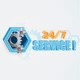 Moderne und einzigartige Idee für 24/7 Service-Zeichen Stockbild