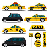 Moderne und klassische Taxiautos Stockfotos