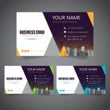 Moderne Unternehmensvisitenkarte mit 3 abwechselnden Farben und Vectorized Gebäuden lizenzfreies stockfoto
