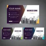 Moderne Unternehmensvisitenkarte mit 3 abwechselnden Farben und Vectorized Gebäuden stockfoto