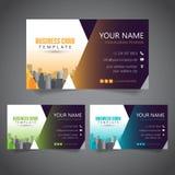 Moderne Unternehmensvisitenkarte mit 3 abwechselnden Farben und Vectorized Gebäuden stockbilder
