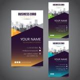 Moderne Unternehmensvisitenkarte mit 3 abwechselnden Farben und Vectorized Gebäuden stockbild