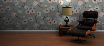 Moderne van de zitkamerstoel en lijst scène Royalty-vrije Stock Foto