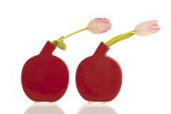 Moderne vazen met tulpen Royalty-vrije Stock Afbeeldingen