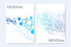Moderne vectormalplaatjes voor brochure, dekking, banner, vlieger, jaarverslag, pamflet Hexagonale moleculaire structuren vector illustratie