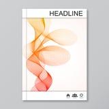 Moderne vectormalplaatjes voor brochure, vlieger, dekkingstijdschrift of rapport in A4 grootte Abstracte Gebogen Lijnen Stock Illustratie
