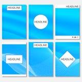 Moderne vectormalplaatjes voor brochure, vlieger, dekkingstijdschrift of rapport in A4 grootte Abstracte gebogen lijnen op blauw Royalty-vrije Illustratie