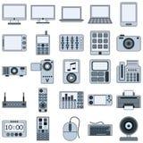 Moderne Vektorikonen der elektronischen Geräte Stockbilder