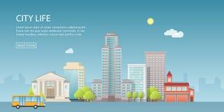 Moderne Vektorillustration der Netzfahne von Stadtlandschaft mit Gebäuden, Shop und Speichern, Transport Flache Stadt auf Blau Lizenzfreie Stockfotos