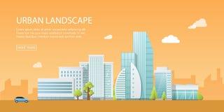 Moderne Vektorillustration der Netzfahne von Stadtlandschaft mit Gebäuden, Shop und Speichern, Transport Flache Stadt auf Orange Stockfotos