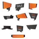 Moderne Vektorillustration des schwarzen Freitag-Verkaufsfahnensatzes Lizenzfreies Stockbild