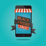 Moderne Vektorillustration schwarzen Freitag-Verkaufs, Online-Shop Lizenzfreie Stockbilder