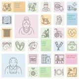 Moderne Vektorlinie Ikone des Seniors und der Altenpflege Pflegeheimelemente - alte Leute, Rollstuhl, Freizeit, Krankenhausanrufk Lizenzfreie Stockfotos