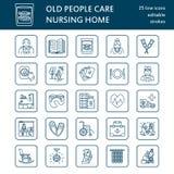 Moderne Vektorlinie Ikone des Seniors und der Altenpflege Pflegeheimelemente - alte Leute, Rollstuhl, Tätigkeiten, Gebisse, Mediz Lizenzfreies Stockfoto