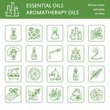 Moderne Vektorlinie Ikonen der Aromatherapie und der ätherischen Öle Elemente - Aromatherapiediffusor, Ölbrenner, Badekurortkerze Stockfotografie