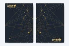 Moderne Vektorschablone für Broschüre, Broschüre, Flieger, Abdeckung, Broschüre, Zeitschrift oder Jahresbericht Goldenes Darstell vektor abbildung