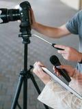 Moderne videomateriaal vlog televisie royalty-vrije stock foto's