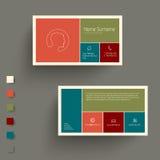 Moderne Visitenkarteschablone mit flacher beweglicher Benutzerschnittstelle Lizenzfreies Stockfoto