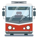 Moderne vlakke beeldverhaalillustratie van voorkant van gestileerde tram Stock Foto