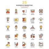 Moderne Vlakke de Pictogrammen van de Lijnkleur Zaken en Marketing stock illustratie