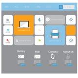 Moderne vlakke het ontwerp vectoruitrusting van UI in in kleur met eenvoudige mobiele telefoon, knopen, vormen, vensters en ander Stock Foto