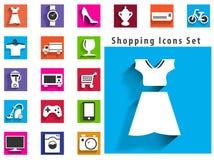 Moderne vlakke het winkelen pictogrammen met lang schaduweffect in modieus Royalty-vrije Stock Foto's