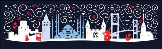 Moderne vlakke horizontale illustratie Istanboel met silhouet van beroemde Turkse symbolen: toren, brug, poort, moskee in Turkije royalty-vrije illustratie
