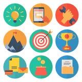 Moderne vlakke pictogrammen vectorinzameling, de voorwerpen van het Webontwerp, bedrijfs, bureau en marketing punten Stock Foto's