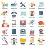 Moderne vlakke pictogrammen vectorinzameling in modieuze kleuren van de voorwerpen van het Webontwerp, bedrijfs, bureau en market royalty-vrije illustratie