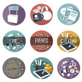 Moderne vlakke pictogrammen vectorinzameling van de voorwerpen van het Webontwerp Royalty-vrije Stock Foto