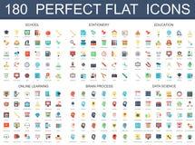 180 moderne vlakke pictogrammenreeks van school, kantoorbehoeften, onderwijs, online lerend, hersenenproces, de pictogrammen van  stock illustratie